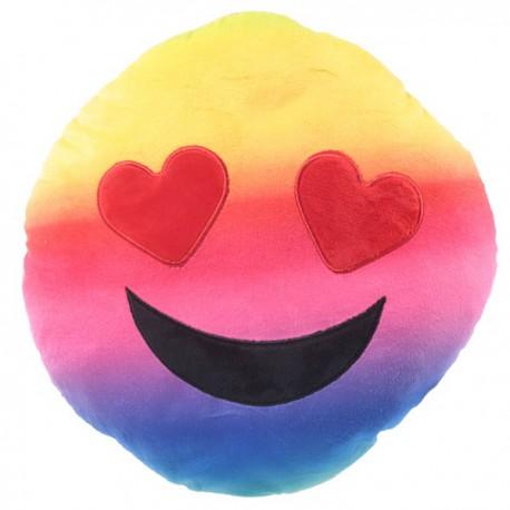 Cojín emoticono ojitos de corazón 30 cm.
