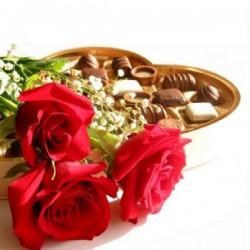 3 rosas + bombones
